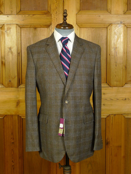 20/0387 new w/ tags chester barrie wool silk & linen brown / blue wp check lightweight TAILORED FIT sports jacket blazer (rrp £295) 43-44 regular