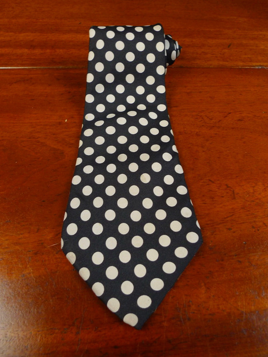 20/0403 vintage lock & co black cream polka dot silk tie