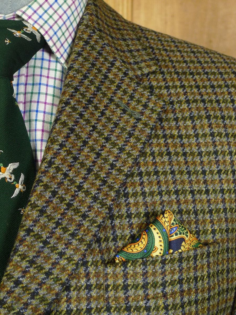 20/0409 immaculate modern burberry green / brown gun check wool & cashmere sports jacket blazer 42 short