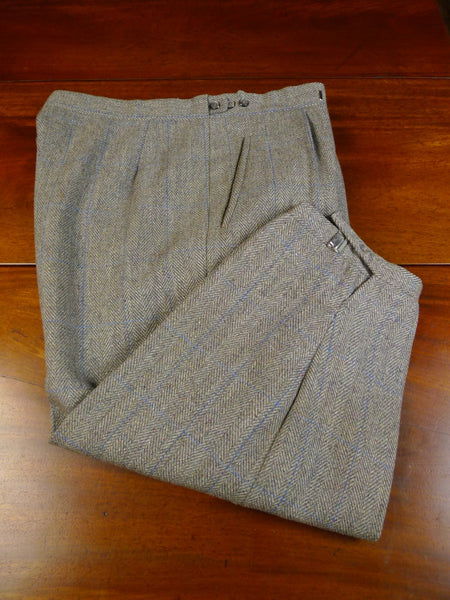 20/0434 vintage harrods personal tailor green / blue wp check tweed shooting breeks 37
