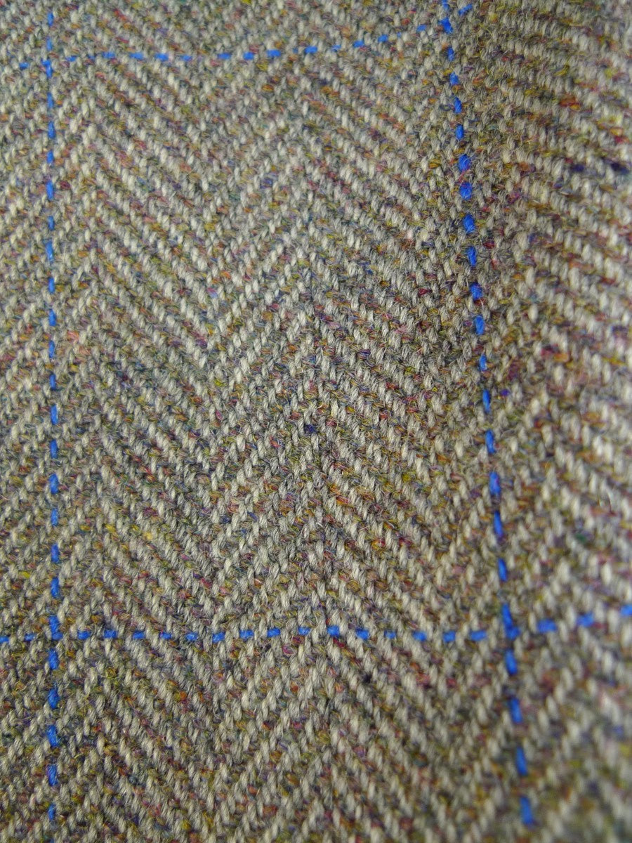 20/0435 vintage harrods personal tailor green / blue wp check tweed country trouser 37