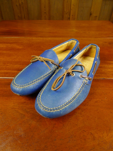 20/0449 ralph lauren polo blue leather moccasin summer / driving / deck shoe uk 7.5
