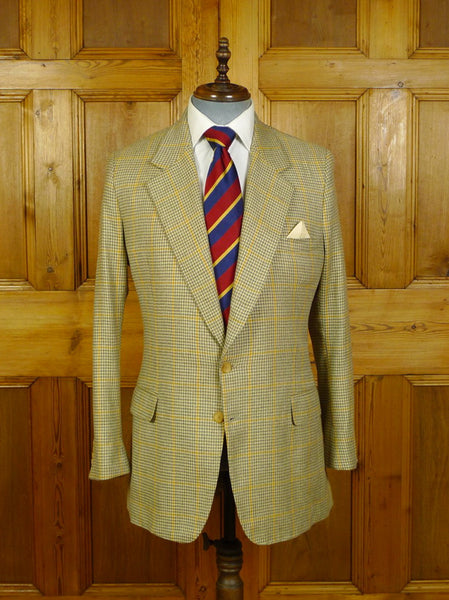 20/0462 immaculate vintage morty sills bespoke tailor wool cashmere silk gun check sports jacket blazer 38 long