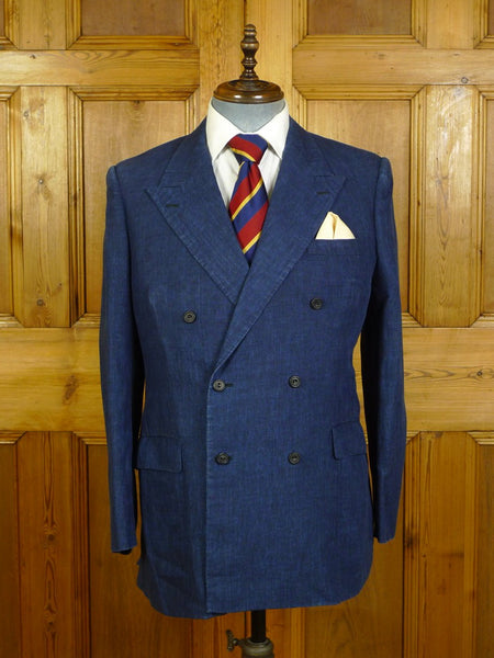 20/0470 immaculate richard anderson 2015 savile row bespoke blue marcassin linen blazer 39-40 regular