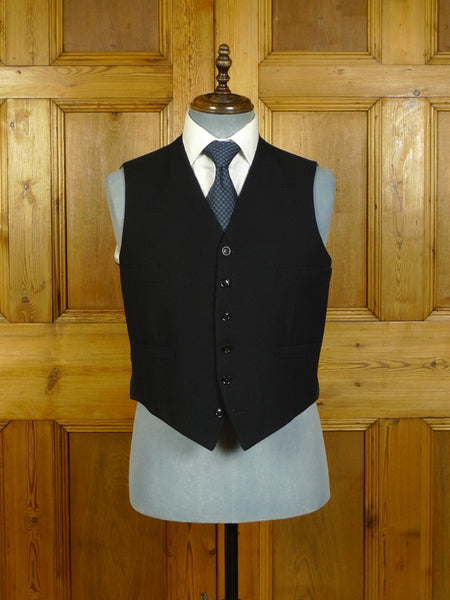 20/0477 immaculate vintage 1954 savile row bespoke black worsted morning waistcoat 41-42 regular
