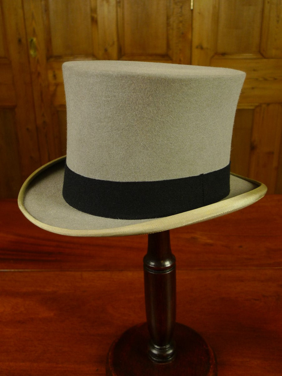 20/0480 genuine 1950s vintage scott & co piccadilly grey fur felt top hat  w/ original box 57 cms
