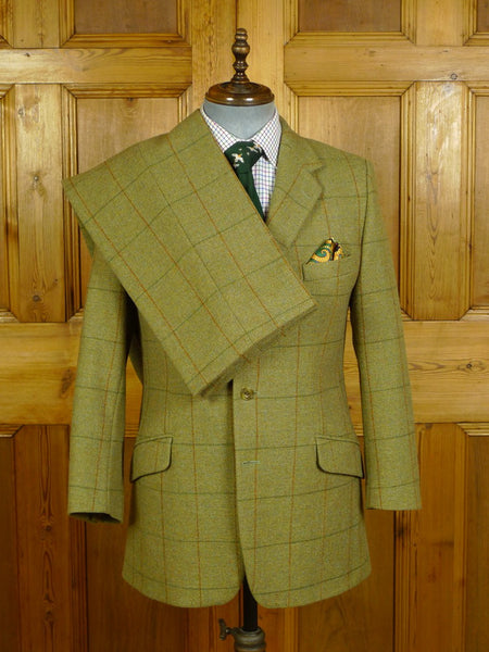 20/0494 immaculate henry poole savile row / cordings of piccadilly green wp check heavyweight tweed suit 39-40 regular
