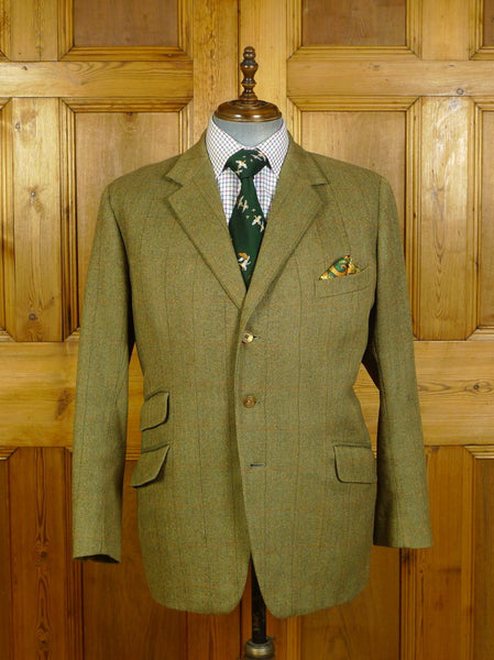 20/0486 vintage meyer & mortimer savile row bespoke green wp check tweed jacket  45 short to regular