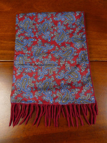 20/0541 Immaculate vintage sammy red paisley rayon / wool scarf