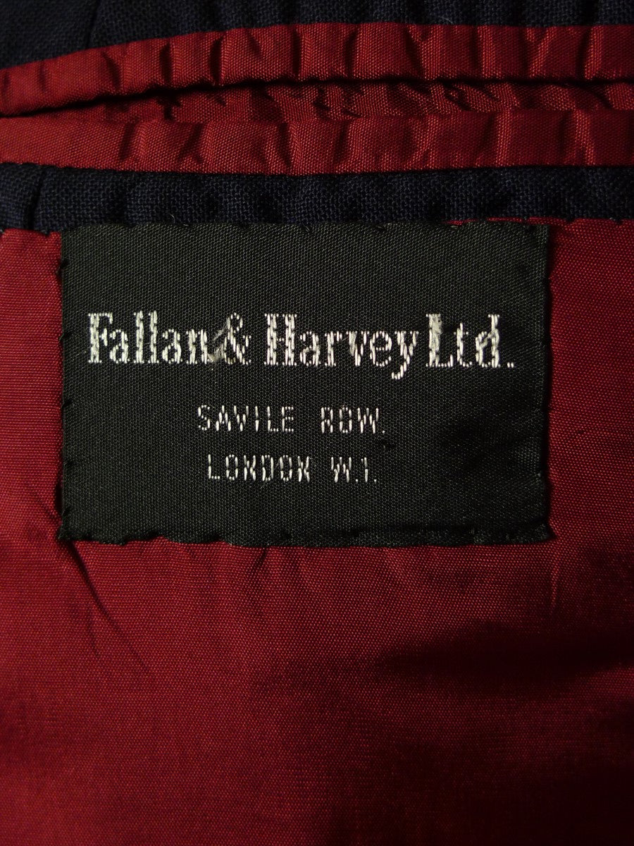 20/0499 vintage fallan & harvey savile row bespoke navy blue d/b blazer w/ regimental buttons 43 extra short