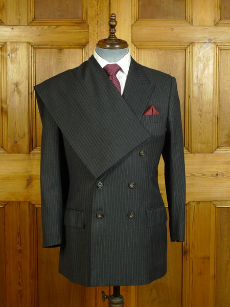 20/0515 near immaculate 1991 henry poole savile row bespoke grey pin-stripe d/b worsted suit 39-40