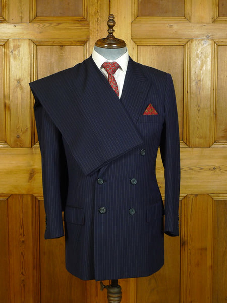 20/0514 near immaculate 1991 henry poole savile row bespoke navy blue pin-stripe d/b worsted suit 40