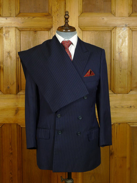 20/0516 vintage 1986 henry poole savile row bespoke navy blue pin-stripe d/b worsted suit 39