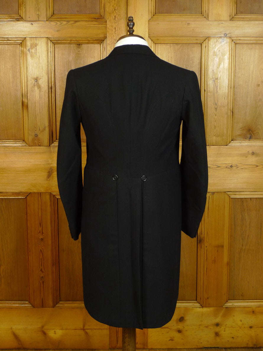 20/0554 immaculate 1950s vintage black wool morning coat 38