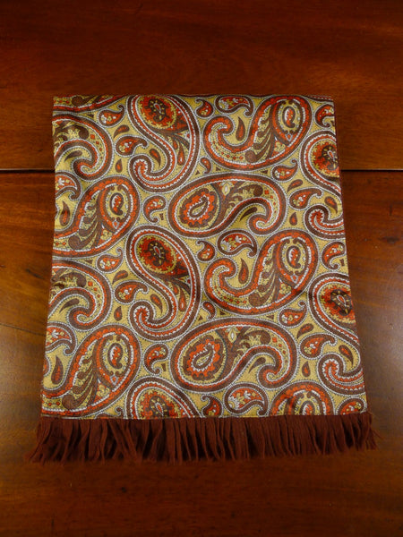 20/1035 immaculate vintage duggie brown gold paisley pattern tricel / wool scarf