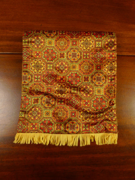 20/0960 immaculate vintage duggie red bronze paisley pattern tricel / wool scarf