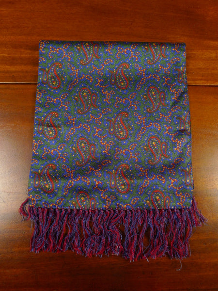 20/0958 immaculate vintage blue green paisley pattern tricel scarf
