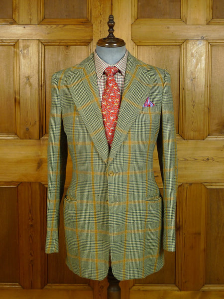 20/0592 vintage vincents savile row bespoke glen check tweed jacket 39-40 extra long