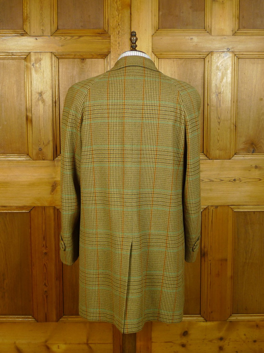 20/0612 vintage bladen supasax glen check tweed raglan field coat overcoat 41-42