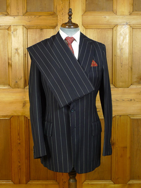 20/0617 vintage vincents savile row bespoke heavyweight worsted navy blue pin-stripe suit 40 extra long