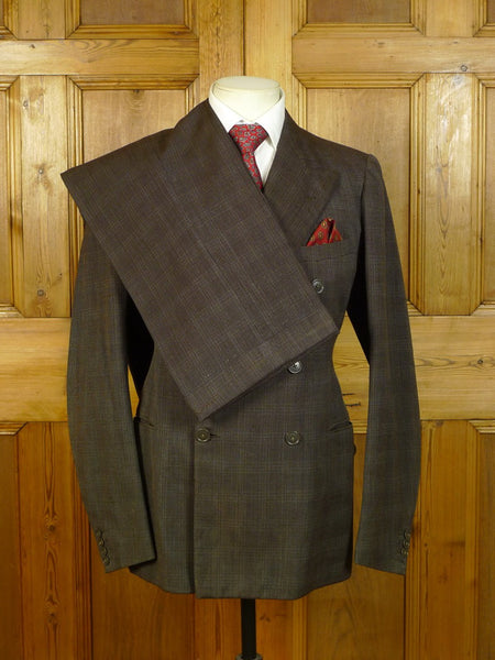 20/0622 fabulous genuine 1935 vintage savile row tailored brown glen check heavyweight worsted 3-piece suit 36-37 long
