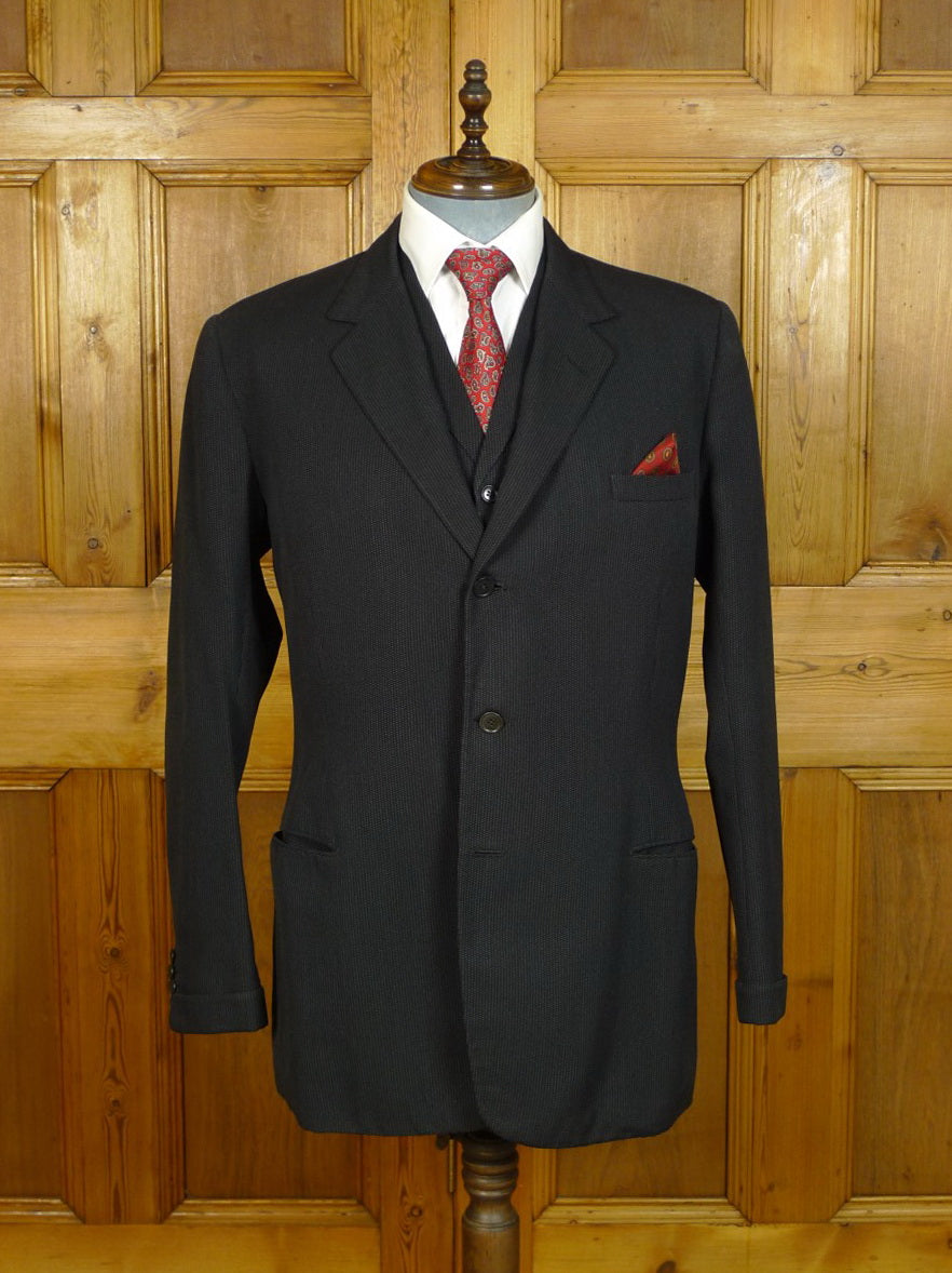20/0621 genuine 1958 heavyweight carcoal grey micro nailhead 3 piece suit 41 long