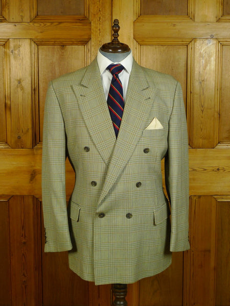 20/0655 vintage burberrys' glen check d/b wool blazer sports jacket 46 regular