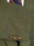 20/0658 immaculate burberrys' green wp check wool sports jacket 44 short