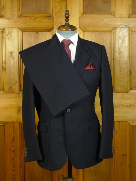 20/0651 immaculate vintage burberrys custom order 'tram-stripe' heavyweight worsted suit 40 long