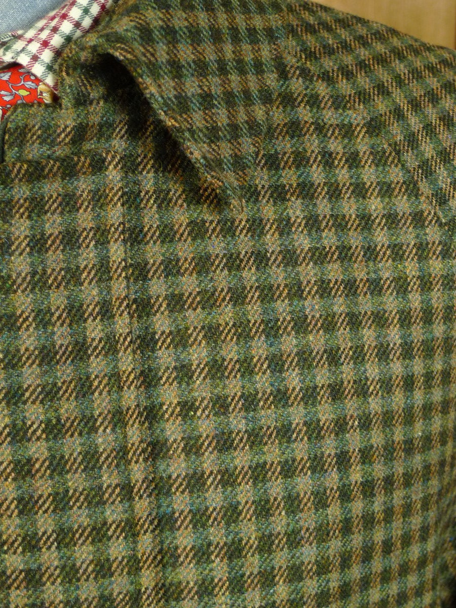 20/0639 immaculate vintage aquascutum gun check tweed field coat w/ wool lining 42