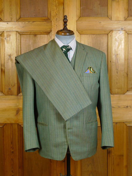20/0709 vintage british bespoke tailored green multi-stripe heavyweight worsted twist 3-piece suit 42-43 short