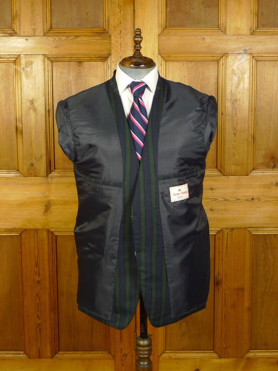 20/0701 immaculate british bespoke tailor blue / green striped worsted boating blazer 43 short