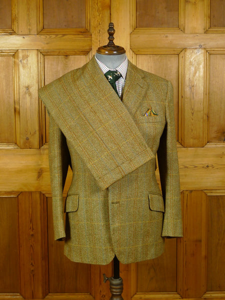 20/0697 superb 1977 vintage london bespoke tailor heavyweight 3-piece wp check tweed suit 39-40 short to regular