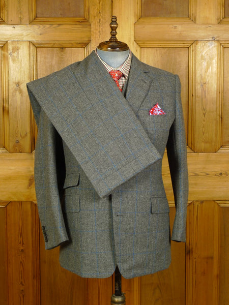 20/0698 near immaculate 2008 kilgour savile row bespoke heavyweight grey / blue windowpane check 3-piece tweed suit 42-43 regular