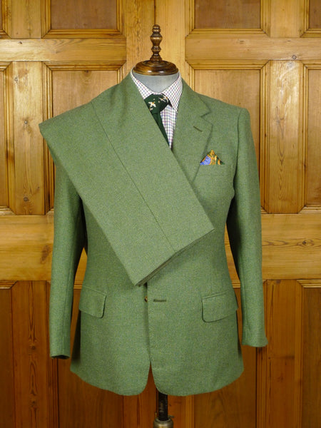 20/0706 superb 2002 dege & skinner savile row bespoke green twill tweed suit 42 short