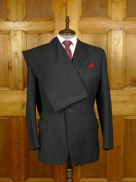 20/0740 vintage tom brown savile row bespoke grey / blue pin-stripe heavyweight worsted 3-piece suit 43 long