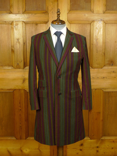 20/0733 brand new w/ tags new & lingwood striped brushed cotton frock coat w/ paisley linings (rrp £795) 39-40 regular