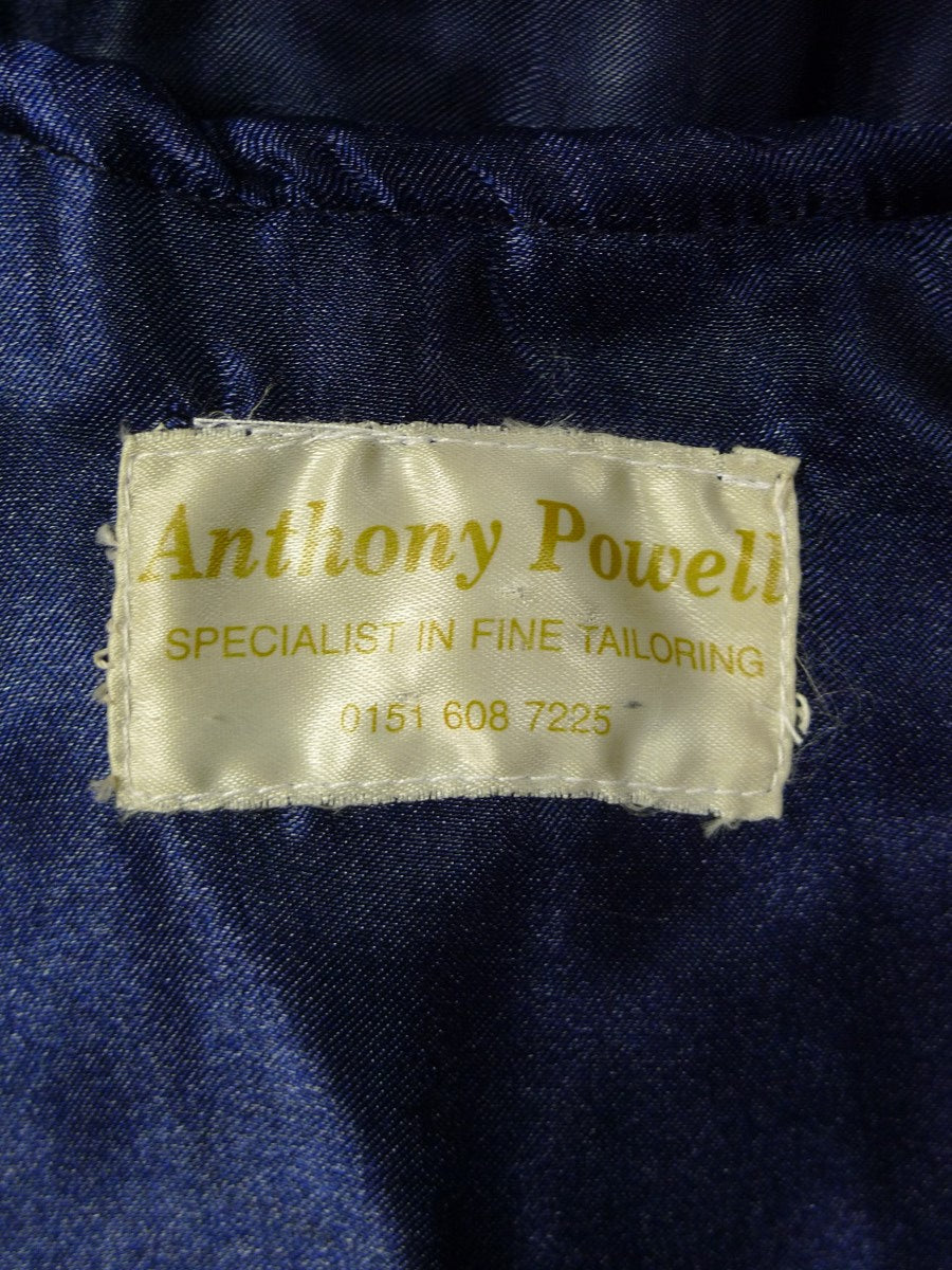 20/0751 vintage anthony powell bespoke navy blue herringbone wool 3-piece suit 38-39 regular