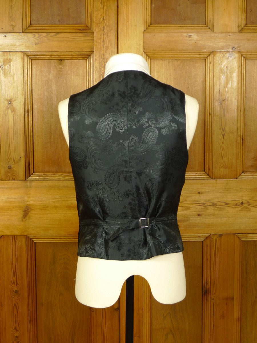 20/0757 immaculate favourbrook black cotton velvet waistcoat (rrp £300) 40