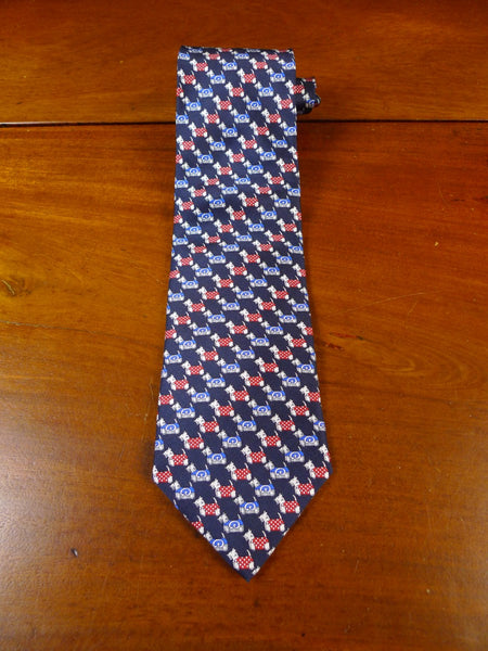 20/0793 immaculate harrods blue red 'scottie dog' pattern SILK TIE