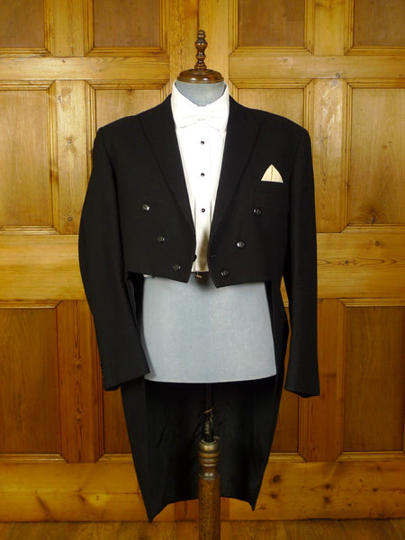 20/0782 immaculate vintage continental tailored black brushed wool evening tailcoat 46 regular