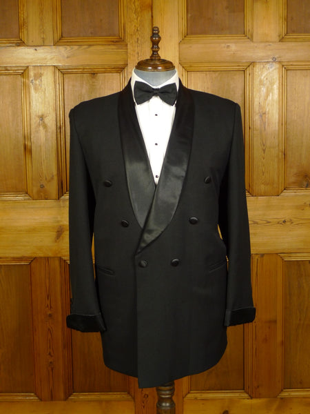 20/0787 vintage far east tailored black superfine wool / silk shawl dinner jacket 46 regular to long