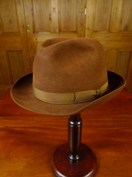 20/0763 vintage woodrow of piccadilly brown fur felt trilby hat 55 cms