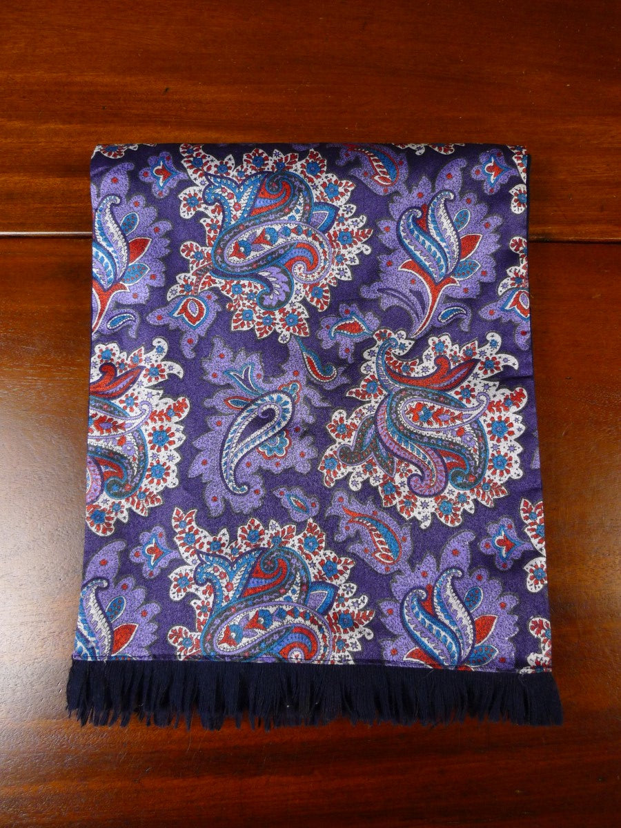 20/0951 vintage sammy purple blue paisley pattern tricel / wool scarf