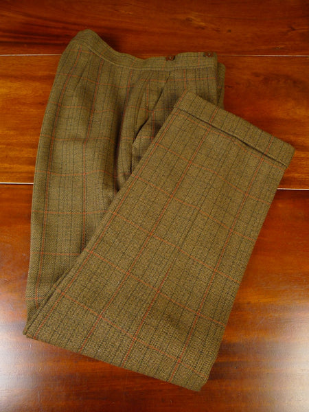 20/0874 near immaculate johns & pegg savile row bespoke high-rise brown wp check tweed trouser 32-34