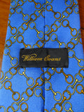 20/0842 immaculate william evens blue gold equestrian design SILK TIE