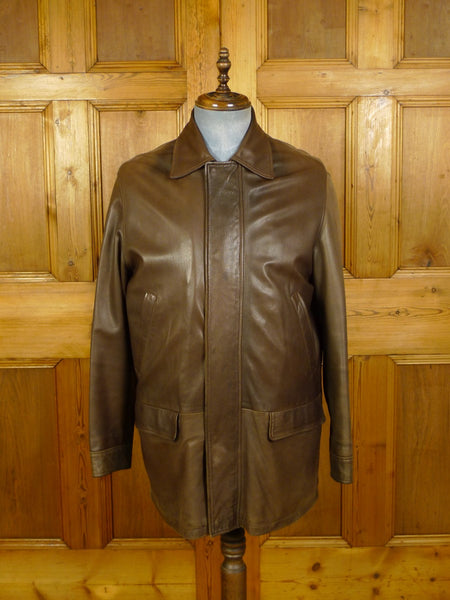 20/0901 gieves savile row brown leather casual jacket coat (rrp £2500) small