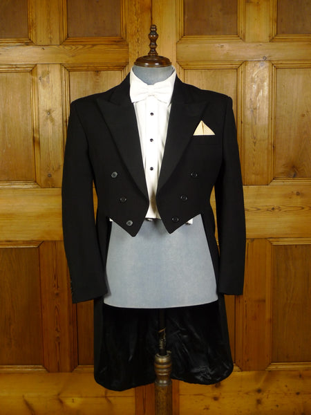 20/0879 immaculate hackett london black barathea / grosgrain silk evening tailcoat 42 short