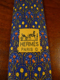 20/0905 immaculate hermes blue gold floral pattern SILK TIE