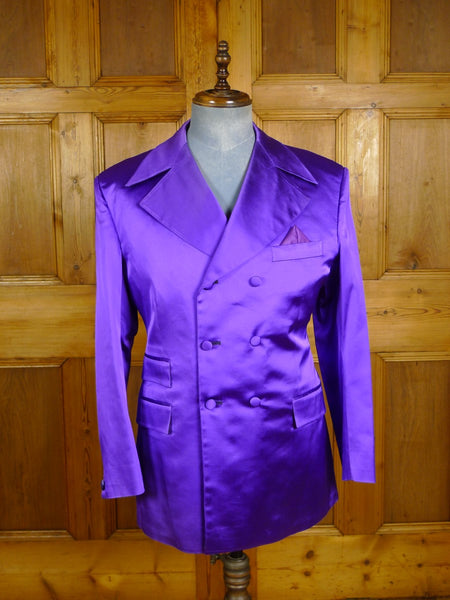 20/0909 fabulous mr eddie soho bespoke purple d/b silk blazer w/ velvet cuff buttons 39-40 regular